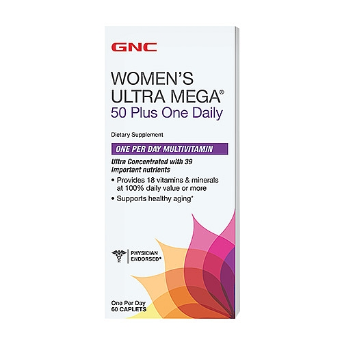GNC Women's Ultra Mega 50 Plus One Daily, Caplets 60 ea - GNC025