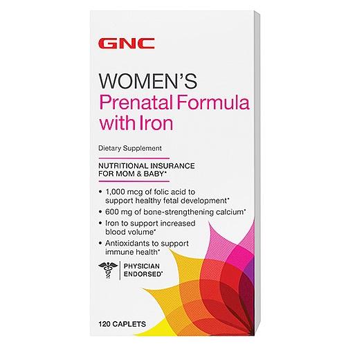 GNC Women's Prenatal Formula with Iron, Caplets 120 ea - GNC028