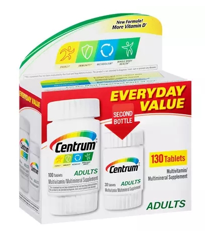 Centrum Adults Under 50 Multivitamins Bonus Size, Tablets 130 - CEN004